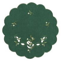 Vánoční ubrus jmelí zelená, pr. 35 cm