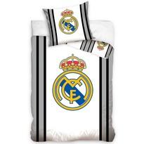 Bavlněné povlečení Real Madrid šedá Stripes, 140 x 200 cm, 70 x 80 cm