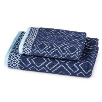 Ręcznik kąpielowy i ręcznik Geometria niebieski, komplet 2 szt.
