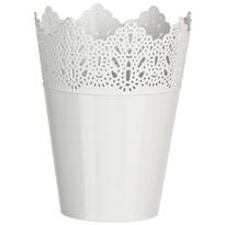 Plastový obal na kvetináč Čipka 15 cm, biela