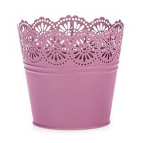 Zinkový květináč Krajka tmavě růžová, pr. 13,5 cm