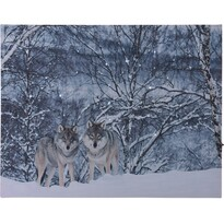 LED Obraz na plátně Wolves in winter, 40 x 30 cm