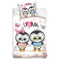 Detské bavlnené obliečky U & Me Tučniaky Bonnie a Clyde, 140 x 200 cm, 70 x 80 cm