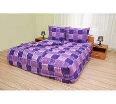 Bavlnené obliečky Štvorce fialové, 220 x 200 cm, 2 ks 70 x 90 cm