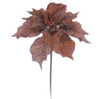 Umelá kvetina poinsettia medená 3 ks