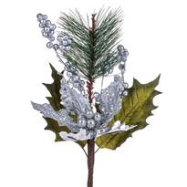 Umelá kytica Poinsettia s bobuľami, strieborná