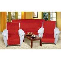 Prehozy na sedaciu súpravu Korall micro červená, 150 x 200 cm, 2 ks 65 x 150 cm