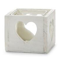 Świecznik drewniany serce biały