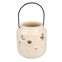Závěsný keramický svícen bílá, 9,5 cm