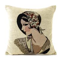 Obliečka na vankúšik Gobelín žena v klobouku, 45 x 45 cm