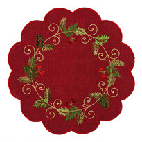 Magyal karácsonyi abrosz piros, átm. 35 cm