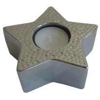 StarDeco Świecznik dekoracyjny Gwiazda srebrny, 11,5 cm