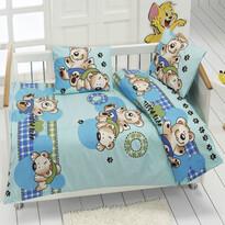 Detské bavlnené obliečky medvedík modrá, 95 x 135 cm, 40 x 60 cm