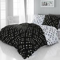 Lenjerie de pat din satin Infinity alb-negru 2 persoane, 240 x 200 cm, 2 buc. 70 x 90 cm