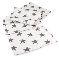 Travesă Stars albă, 33 x 140 cm