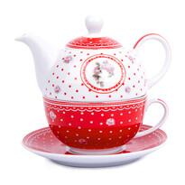 3-dielna čajová súprava Country, červená