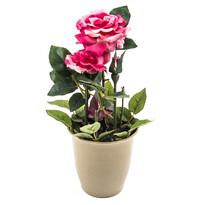 Sztuczny kwiat róży w doniczce różowy