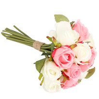 Umělá kytice růží, růžová + bílá