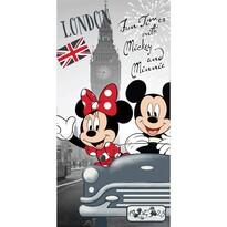 Ręcznik kąpielowy Mickey and Minnie in London, 70 x 140 cm