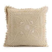 Pernă cu o parte tricotată Gita bej, 40 x 40 cm