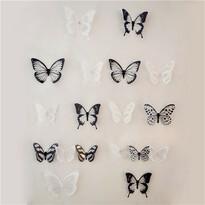 Naklejki 3D motyle czarno-biały, 18 szt.