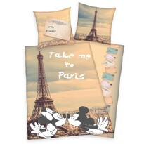 Bavlnené obliečky Mickey and Minnie Paris, 140 x 200 cm, 70 x 90 cm