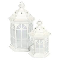 Sada kovových lampášov Accendo biela, 2 ks