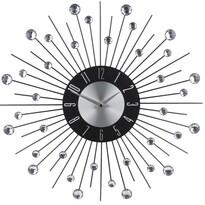Zegar ścienny z kryształkami, srebrny