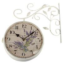 Kovové hodiny Levandule, bílá