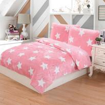 Lenjerie de pat micro-pluş Stars roz, 140 x 200 cm, 70 x 90 cm