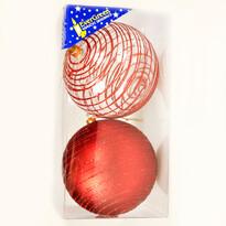 Bombki z brokatem 2 szt., czerwone, średnica 10 cm