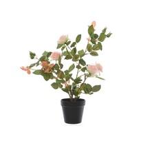 Trandafir artificial în ghiveci, roz, 50 cm