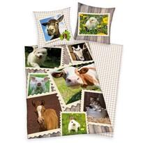 Lenjerie de pat, din bumbac, Animale la fermă, 140 x 200 cm, 70 x 90 cm