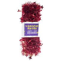 Łańcuch świąteczny z gwiazdami, czerwony,  4 m + 1 m GRATIS