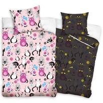 Detské bavlnené svietiace obliečky Mačky ružová, 140 x 200 cm, 70 x 80 cm