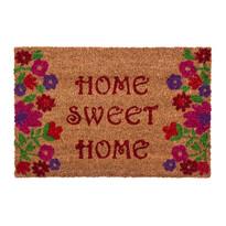 Rohožka Sweet Home flowers hnědá, 40 x 60 cm