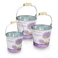 Obal na květináč kbelíček Levandule, 3 ks