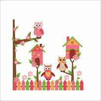 Samolepiaca dekorácia Ružové sovičky za plotom
