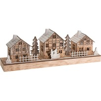 Vánoční dřevěná vesnička Snowmen  43,5 cm, 7 LED