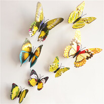 Öntapadós falmatrica 3D-s pillangókkal, mágneses, 12 db sárga