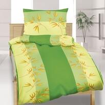 Flanelové obliečky Rákos zelená, 140 x 200 cm, 70 x 90 cm
