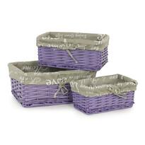 Košík proutěný, sada 3 ks fialová