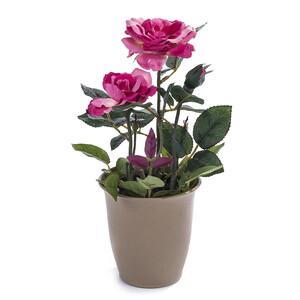 Umelá kvetina ruža v kvetináči ružová
