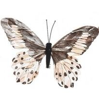 Dekorační Motýlek béžová, 20 cm