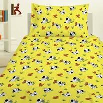 Detské obliečky Psík žltá, 140 x 200 cm, 70 x 90 cm