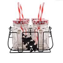 Orion Sada pohárov s viečkom a slamkou Straw, 4 ks