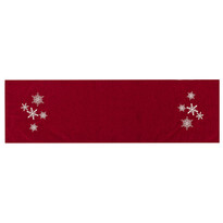 Bieżnik świąteczny Płatki śniegu czerwony, 40 x 140 cm