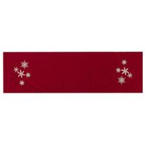 Vianočný behúň Vločky červená, 40 x 140 cm