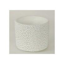 Betonový obal na květináč Flower, bílá