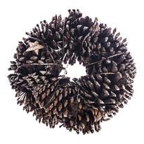 Koszorú tobozokkal és nyírfából készült csillagok, natúr, átmérője 25 cm